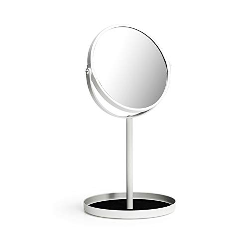 Ettori Makeup Mirror Dual Sided Vanity Mirror, 1X and 5X Magnification, 360 Swivel Round Mirror, No Light, White