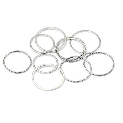 10pcs Frauen Midi Dünne Ringe Legierung Band-knöchel-Stacking Rings Comfort Fit Female Schmuck Geschenk