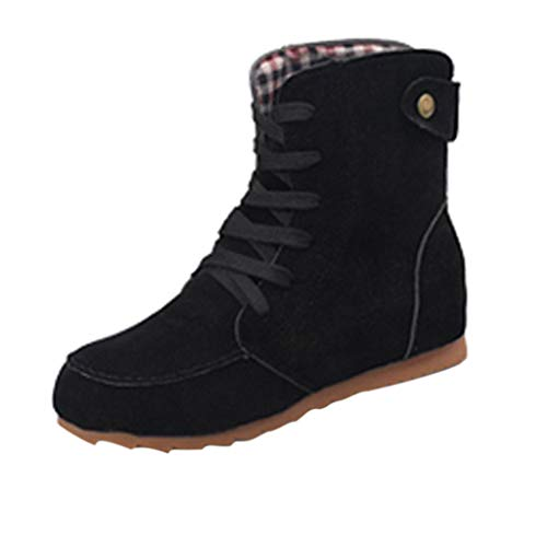 Xinantime Womens Flat Ankle Snow Casual Boots Female Suede Leather Lace-Up Boot Shoe (Black,35-)