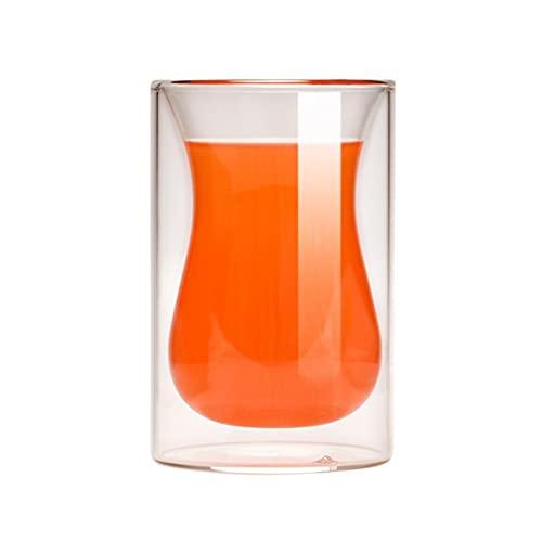 chenchen Juego de 4 vasos de vino de doble pared de cristal tazas de café de 150 ml Whisky Bebedware Latte Cappuccino Tea Beer Wine Tazas (capacidad: cuatro vasos)