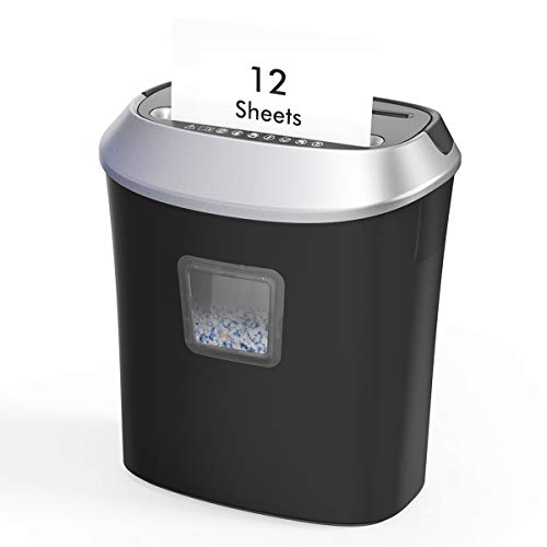 12 Sheet Cross Cut Paper Shredder, dodocool Credit Card Shredder for School...