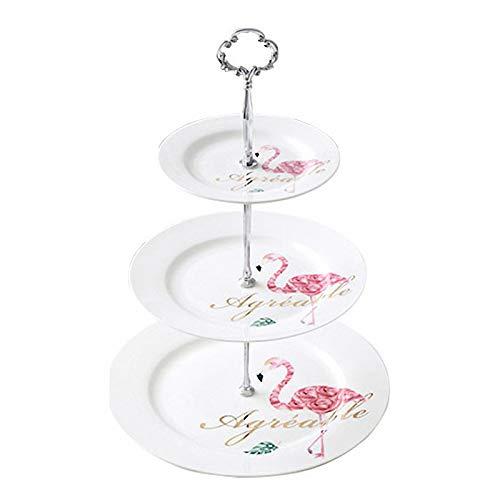 GZDD Vajilla Mesa de Postre Multicapa Plato de cerámica 1 Juego,Platos de Cena Blancos 10'+8'+6' Snacks/Sushi/Fruit Porcelana,Apto para lavavajillas y microondas, silver2