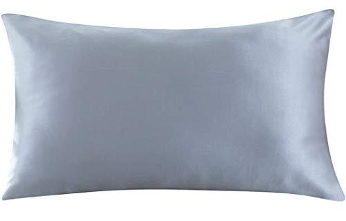 ZIMASILK Kissenbezug aus 100% Seide für Haare und Haut. Doppelseitige 19 Momme Reine Maulbeerseide Kissenhülle mit Reißverschluss, 1 Stück.(40x80cm, Eisen Grau)