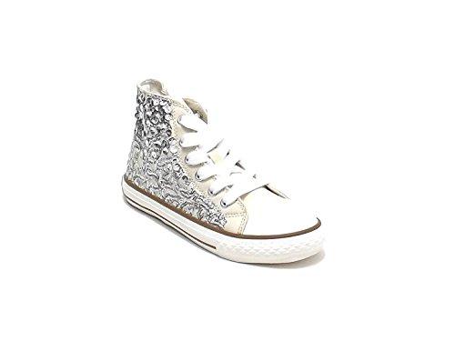 Scarpa Bambina Ragazza,Twin Set HS68DU, Sneakers in Tessuto e Paillettes, Colore Beige