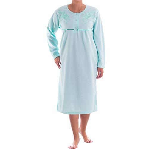 Romesa Thermo Damen Nachthemd Langarm angeraut Herbst Winter, Größe:XL, Farbe:Mint