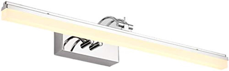 ALYR LED-Spiegelfront Spiegelleuchten, einfache Spiegellampen FüR Das Bad MakeUp-Lampen Bad-Wandleuchten chrom,warm light-12W 49cm