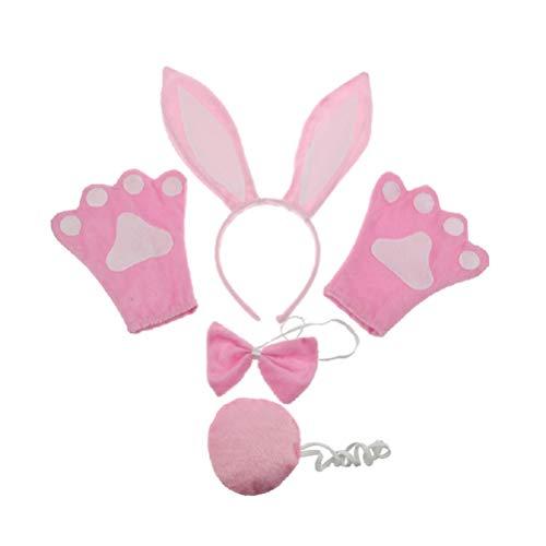 Amosfun Kaninchen Kostüm Kinder Cartoon Anzug Kaninchen Ohren Stirnband Fliege Schwanz Handschuhe Set Leistung Requisiten für Bunny Cosplay