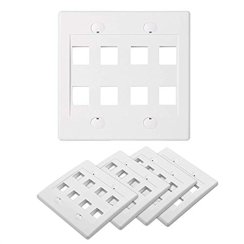 Cable Matters UL Listed 5-Pack 8 Port Keystone Wall Plate (Ethernet Wall Plate) in White