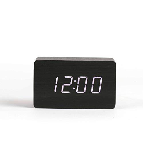 Livoo Digitale wekker, houtlook, wekfunctie, temperatuurweergave, datumweergave (USB-kabel, tafelklok, batterijen, geluidsbesturingsmodus, zwart)