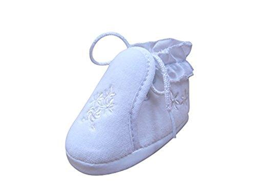 Seruna Festliche-r Baby-Schuh TP15 Gr. 18 Tauf-Schuhe weiß für Babies Junge-n und Mädchen zu Hochzeit-en