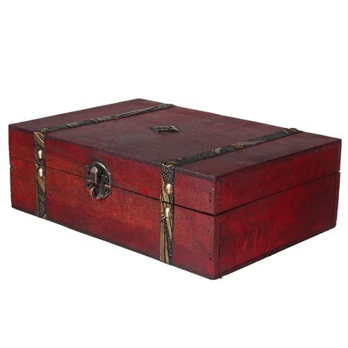 Heqianqian Cofre del tesoro cajas de almacenamiento de madera vintage, caja de almacenamiento de madera con cerradura para decoración del hogar (tamaño: pequeño; color: como se muestra)