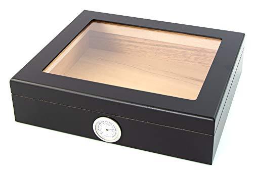 Powerfiller Humidor aus Eichenholz in Schwarz für 20 Zigarren mit Sichtdeckel