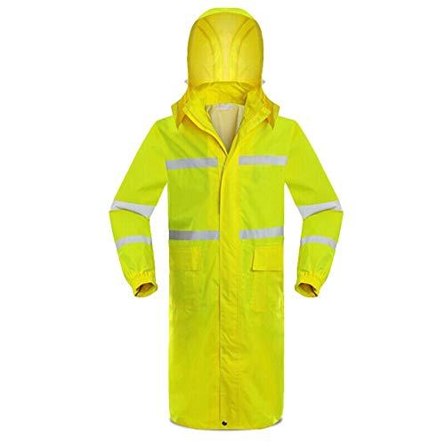 Dinglihuaqu Bestendige douche tegen regen, windbestendig, fluorescerend geel, trenchcoat raincoat voor noodgevallen, poncho met capuchon en mouwen, geschikt voor activiteiten Large