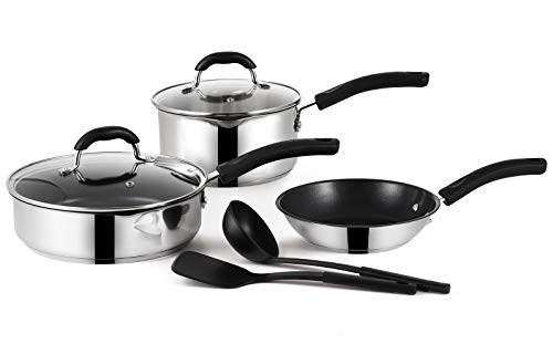 EPPMO Nonstick Stainless Steel Cookware Set, Pots and Pans, Bakelite Handle, 7 Piece