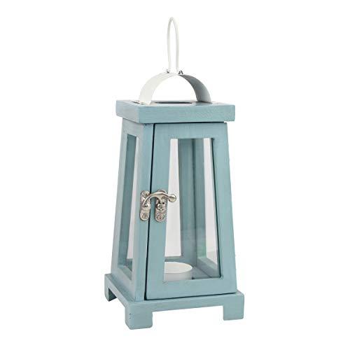 Stonebriar Coastal Wooden Tea Light Candle Lantern, 10.6 Inch, Worn Blue