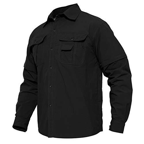 MAGCOMSEN MENS CASUAL BUTTON DOWN SHIRTS 컨버터블 롱 | 짧은 슬리브 빠른 드라이 피싱 셔츠 하이킹 셔츠