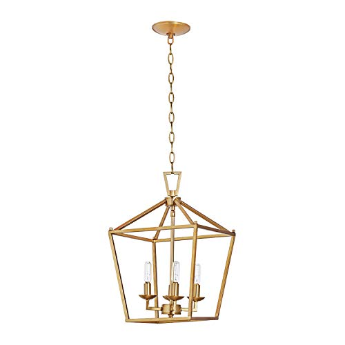 MOTINI 4-Light Gold Lantern Pendant Light in Burnished Brass Finish Metal Geometric Fixture Light for Kitchen Island Cage Chandelier with Adjustable Chain Hang Lighting for Dinning Room Foyer