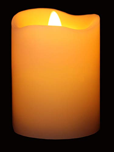 Flameless Candles Flickering Flame Effect (D 3' x H 4') Ivory Auto-Moving Wick, LED Pillar Candles Real Wax with Timer and Battery Operated and Remote to Buy Separately