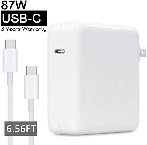 87W USB C Power Adapter Charger for Apple MacBook Pro 15 13 inch 2018 Laptop Include Charge Cable(2M)