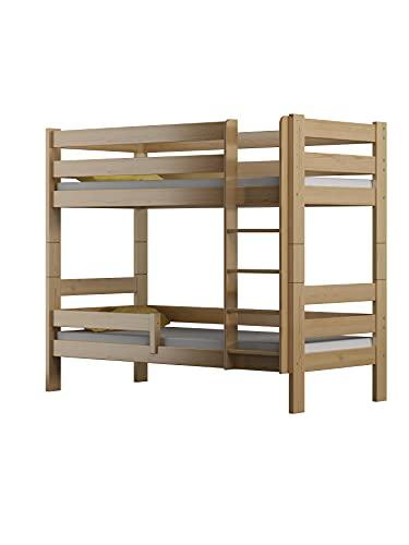 Children's Beds Home - Litera de madera maciza - Toby para niños y niños pequeños - Tamaño 180 x 80, color natural, cajón sí, colchón de látex de alta resistencia de 12 cm