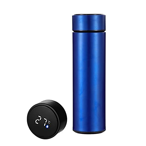 RENSHENKTO 1 frasco aislado taza de viaje para café fácil de limpiar 12 horas caliente mantiene azul acero inoxidable 500 ml