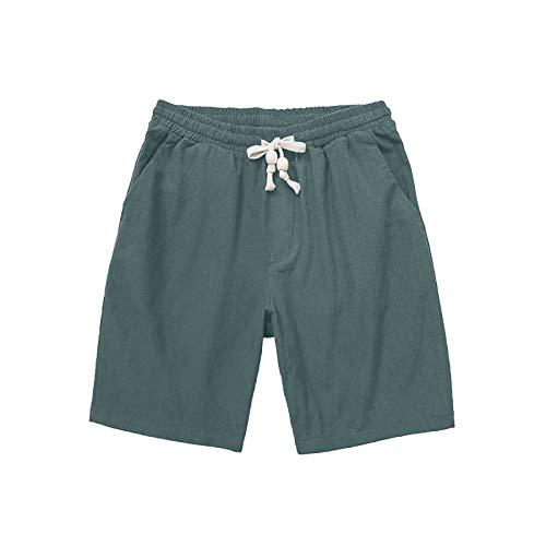 Xjp Herren Schnelltrocknende Kordelzug Sporthose Sommer Baumwolle Leinen Lose Fünf Hosen Herren Plus Size Hosen Strandhose(Grün,M)