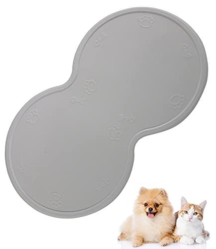 MICHETT Tappetino in silicone per animali domestici, per gatti o cani (antiscivolo e impermeabile) con bordo per mangiatoie e ciotola per acqua, 48 x 27 cm (grigio)
