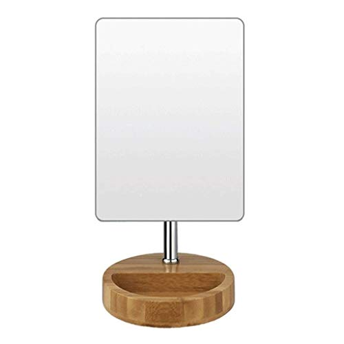 YNHNI Espejo del hogar Bambú y Madera Combinación Espejo Portátil HD Belleza Maquillaje Espejo Cuadrado Espejo de Bambú Grueso Espejo de Baño Vanidad Espejo, Viajes