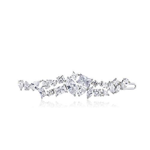 QUKE Damen Leuchtenden Zirkonia Kristall Elegant Haarspangen Braut Hochzeit Schmuck Haar Clip Haarnadel Für Frauen Mädchen