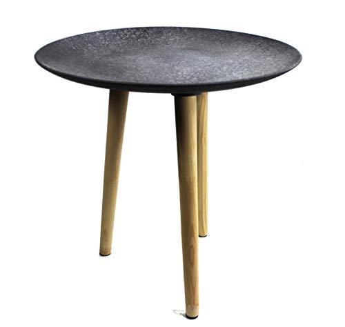 Designer Couchtisch Beton-Optik BEISTELL-Tisch Massivholz Beine Dreibein H 44 cm grau modern ~vds