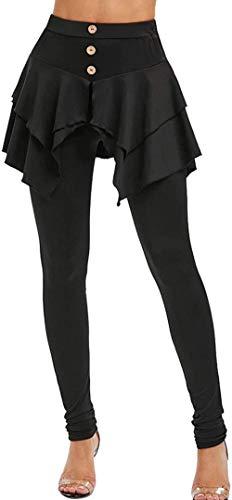 QMHN Leggings con falda para mujer, con volantes y faldas, leggings de yoga, con faldas y leggings de tenis para mujer, color negro _M