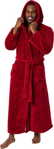 Ross Michaels Mens Luxury 400gsm Hooded Long Robe - Full Length Plush Big & Tall Bathrobe (Red, XXXL)
