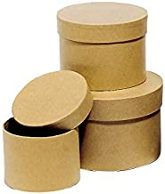 DECORPRO Lot de 3 bo/îtes Cadeau Rondes carr/ées d/écoratives 6 Angles avec Inscription et Couvercle Kraft