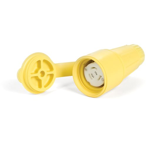 Woodhead CS82W64 Watertite Wet Location Locking Blade Receptacle, 3 Wires, 2 Poles, California Style Configuration, Yellow, 50A Current, 250V Voltage