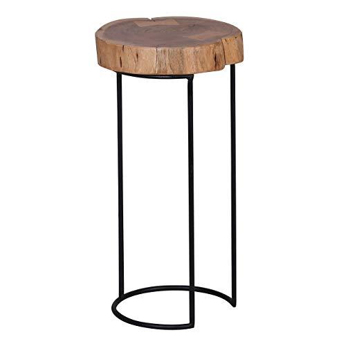 WOHNLING Bijzettafel massief hout acacia woonkamertafel metalen poten landhuisstijl boomstamvorm echt hout natuurproduct salontafel modern aanzettafel uniek telefoontafel onbehandeld tafel rond