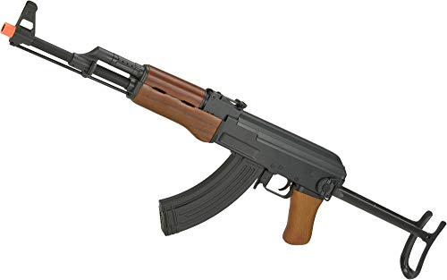 Evike CYMA Full Metal CM042-S AK47-S Airsoft AEG Rifle with Folding Stock - Real Wood (Package: Add 7.4v LiPo Battery + Charger)