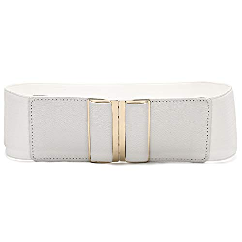 Beltox Womens 3' Wide Belt Elastic Stretch Cinch Waistband Lady Cummerband (26-43', White Belt)