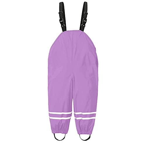 TinaDeer Unisex Kinder Regenlatzhose Regenhose wasserdichte Atmungsaktiv Buddelhose Regenbekleidung Matschhose mit Hosenträgern für Mädchen Jungen Outdoorhose Einteilige Jumpsuit (Lila, 116/L)