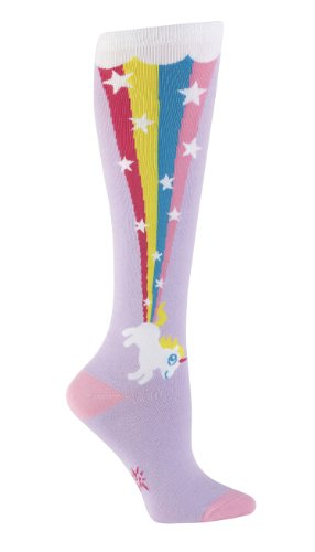 Sock It To Me Rainbow Blast Cute Unicorns Women's Knee High Socks Purple One Size