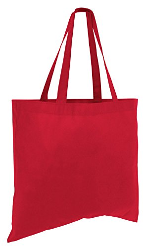 (12 Pack) 1 Dozen Cheap Budget Promotional Large Tote Bags (Red)