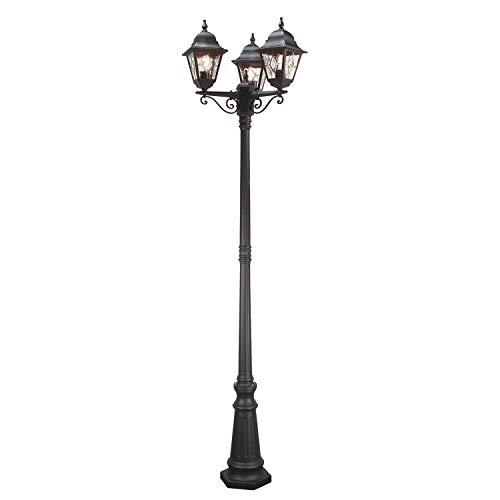 Großer Kandelaber 3-flammig 227cm hoch Schwarz wetterfest IP44 Wegeleuchte Gartenlampe Straßenlaterne