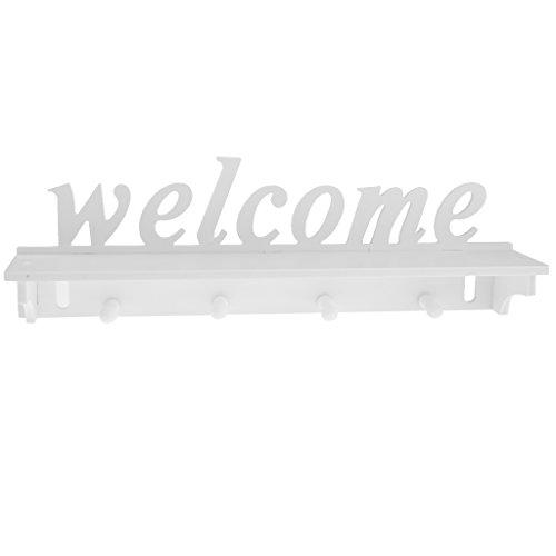 Fenteer Bienvenido Gancho Montado en La Pared de Plástico de Madera de Espacio Libre para La Organización del Hogar