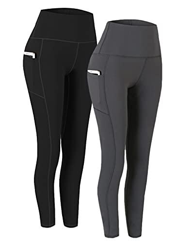Fengbay 2 Pack High Waist Yoga Pants, Pocket Yoga Pants Tummy Control Workout Running 4 Way Stretch Yoga Leggings