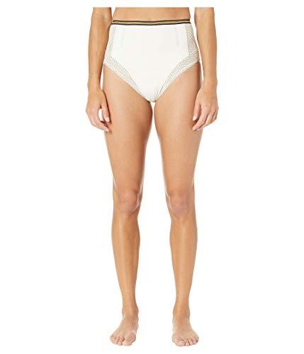 Stella McCartney Contrast Stitching High-Waist Bikini Bottoms Cream LG