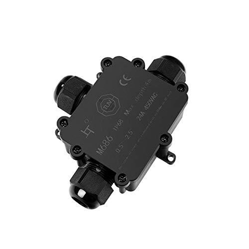 Preisvergleich Produktbild MEIKEE Wasserdichte Abzweigdose Kabelverbinder 3-polig Klemmleistenbox IP68 Kabelverbinderbox für Ø5-14 mm Kabeldurchmesser Verbindungsmuffe 1er-Pack Außenverteilerdose Schwarz