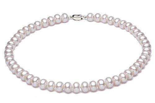 JYX perlenkette weiß suesswasser perlenkette Natürliche weiße 11mm Süßwasser-Zuchtperlenkette Perlenkette Kurz Weiß