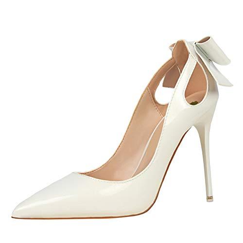 Minetom Sandals Mujer Zapatos Tacón Alto Fiesta Moda Prom Verano Sandalias De Vestir Elegantes Charol Boda Novia High Heels con Bowknot