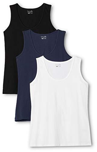 Berydale Camiseta sin mangas de mujer, pack de 3, Multicolor (Schwarz/weiß/dunkelblau), XX-Large