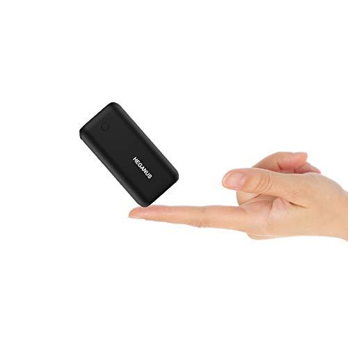 Heganus Powerbank 10000mAh, Mini batería Externa portátil con Salida Dual de 5V / 2.4A, práctico Banco de energía con Cable, batería Externa Ligera para iPhone, Samsung Galaxy, iPad, Huawei