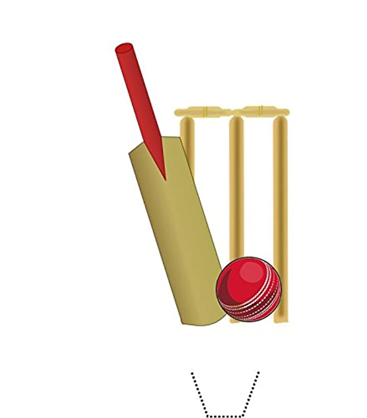 Novelty Cricket Bat, Ball and Stumps 12 Edible Stand up wafer paper cake toppers (5 - 10 BUSINESS DAYS DELIVERY FROM UK)